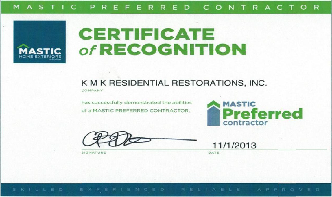 Roofing Contractor Certificates